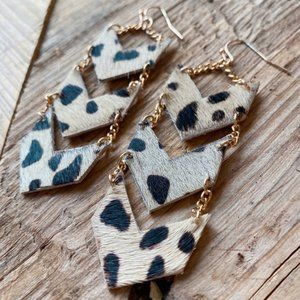 Its A Vibe Genuine Leather Earrings-Gold